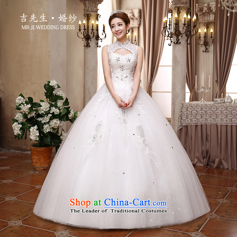 Mr. Guiss��?2015 new stylish and elegant luxury manually Diamond Engraving back large volume and to wedding White?XXL
