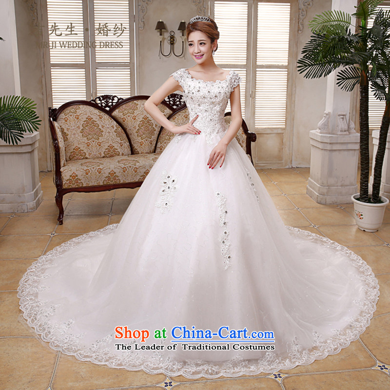 Mr. Guiss�2015 new word shoulder luxury lace diamond jewelry ultra-strong air farm long tail petticoats wedding white customization
