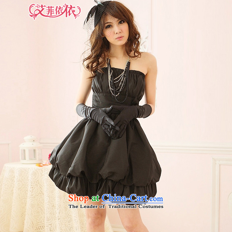 Of the�2015 Korean glued to the new women's short of annual meetings of the persons chairing the banquet stage performances gentlewoman bubbles rubbed chest wrapped chest lanterns small dress skirt 3416 Black�L
