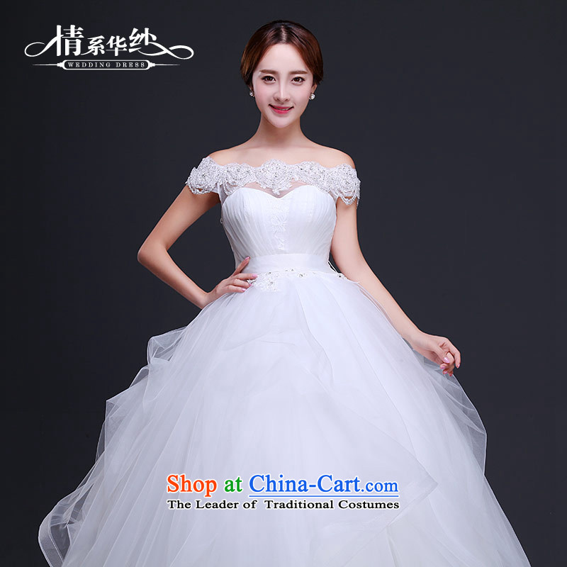 Qing Hua yarn wedding dresses 2015 new Korean word shoulder bolts-ju High waist pregnant women to align the wedding dress code thick mm custom White?M