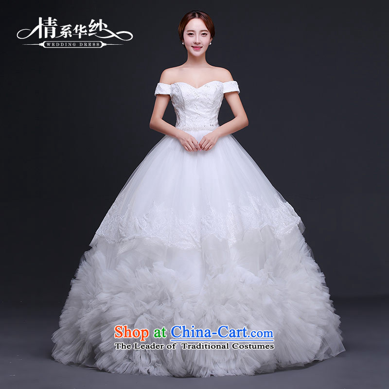 Qing Hua yarn wedding dresses 2015 new Korean word elegant wedding bride shoulder romantic to align bon bon skirt white聽L