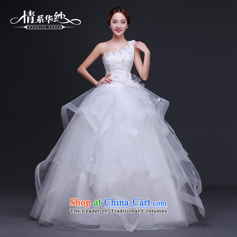 Wedding dress 2015 autumn and winter new Korean elegant retro shoulder bride wedding diamond large graphics thin white strap?S