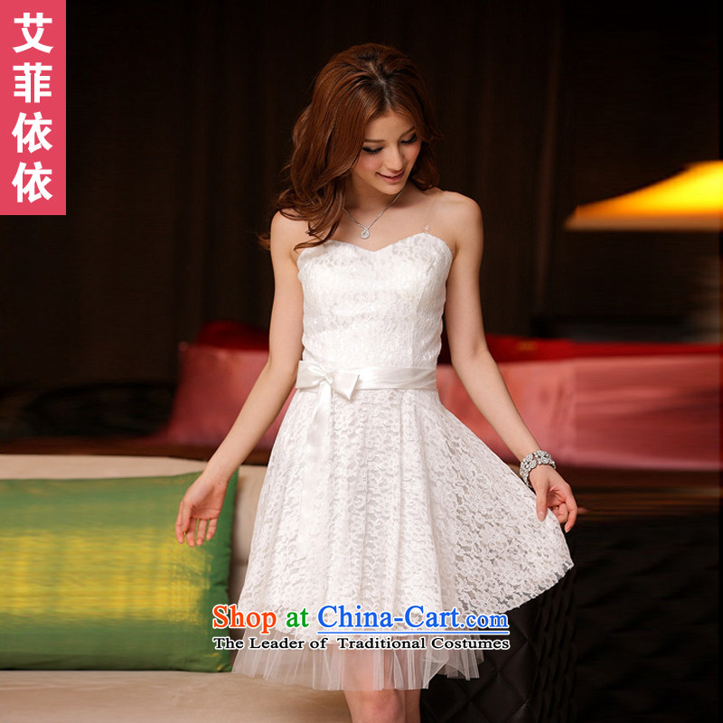 Of the�2015 Korean glued to the new women's short of marriage under the auspices of the annual session of toasting champagne banquet Foutune of Hamor wrapped chest Sau San lace small dress skirt 3385 champagne color are code