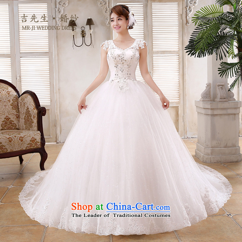 Mr. Guiss��?2015 new stylish and elegant Korean version package shoulder V-Neck luxury lace Diamond High waist Sau San oversized petticoats tail wedding White?XXL