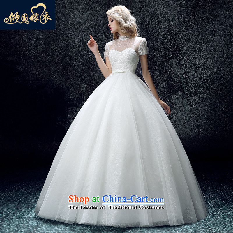 Wedding dress 2015 autumn and winter new collar align to the word wedding fashion bridal package shoulder shoulder bon bon skirt wedding white?L