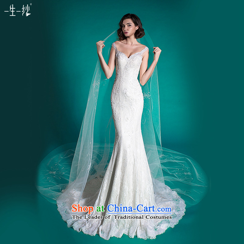 A lifetime of a crowsfoot wedding tail wedding dress autumn 2015 Europe and America through lace white 170/94A 401501388 wedding day 30 pre-sale