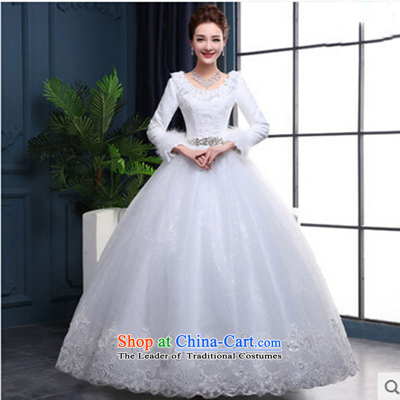 Wedding dress 2015 new winter wedding thick winter clothing to align the bride warm autumn and winter, female white long-sleeved wedding?S