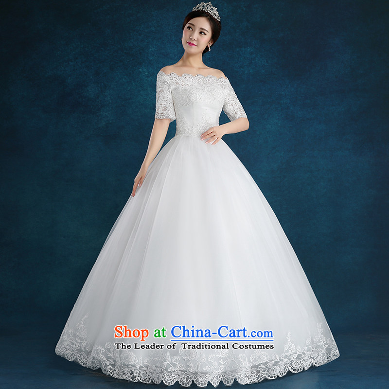 Tim hates makeup and one Field shoulder wedding winter clothing new 2015 Korean style wedding marriages lace larger straps to align the dresses diamond wedding HS009 trailing white tailored does not allow