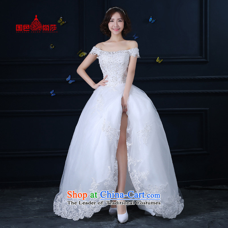 Wedding dress 2015 new Korean style of autumn and winter long tail of the word wedding shoulder marriages to align the minimalist white girl?S