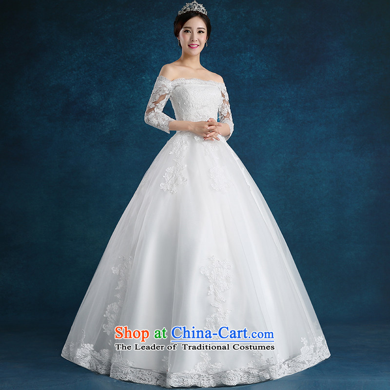 Tim hates makeup and one Field shoulder wedding winter clothing new 2015 Korean style wedding marriages lace larger straps to align the dresses diamond wedding HS01 trailing white S