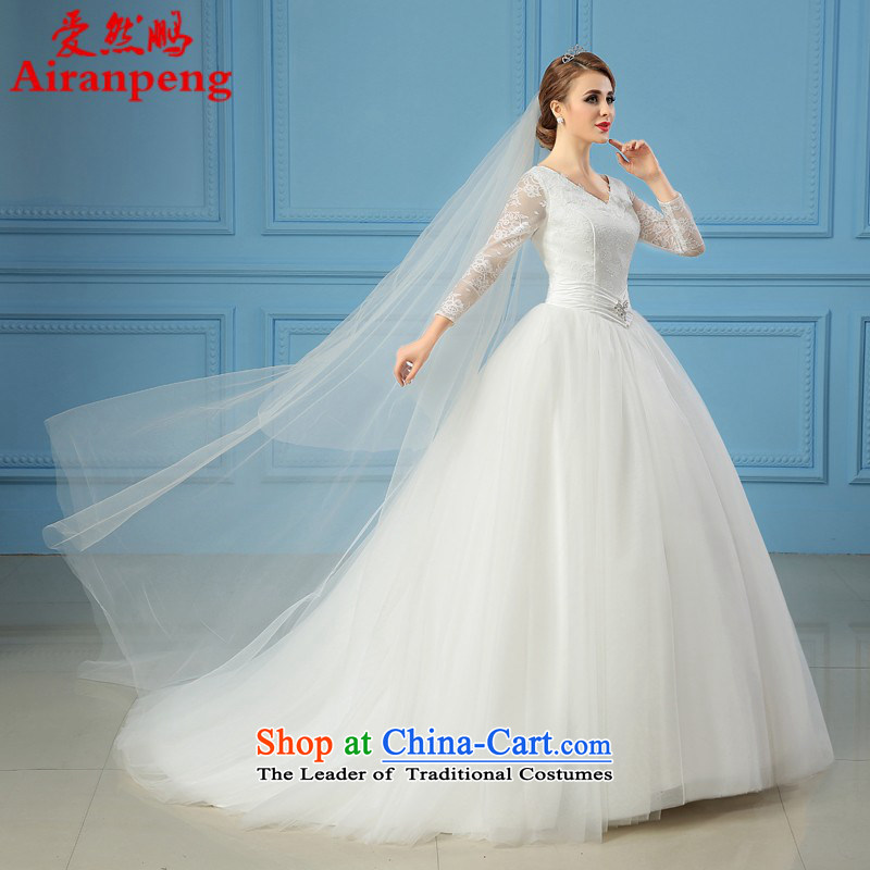 Star wedding dresses 2015 new autumn and winter Korean baby with tail bride wedding V-Neck long-sleeved female made no refunds or exchanges Size