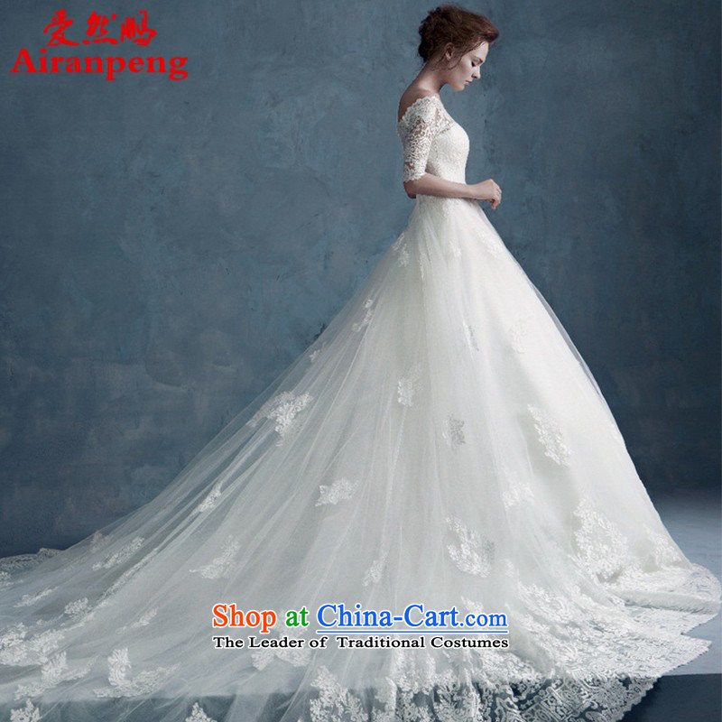 2015 WINTER new word shoulder lace long-sleeved bride wedding dresses long tail large graphics to align the Sau San thin package returning XL