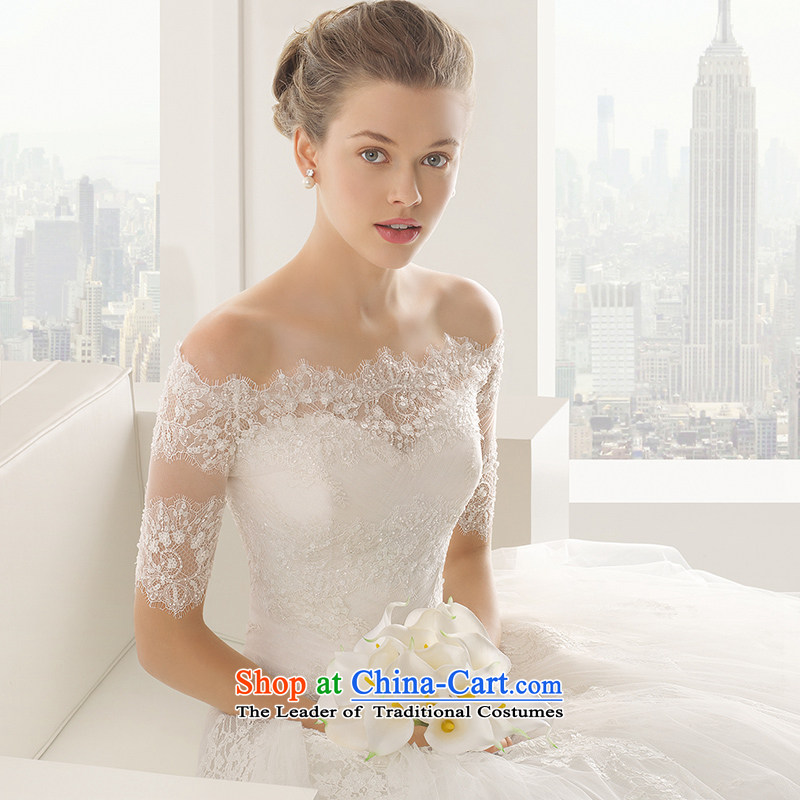 The word bride wedding dresses shoulder the new 2015 winter wiping the chest minimalist lace in cuff small trailing customized Sau San white field shoulder S