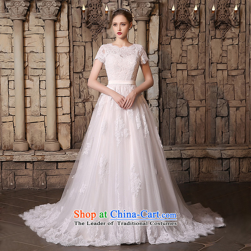 Custom Wedding 2015 dressilyme autumn and winter new lace round-neck collar short-sleeved version A package of small trailing luxury detained bride wedding dress ivory - no spot XXXL