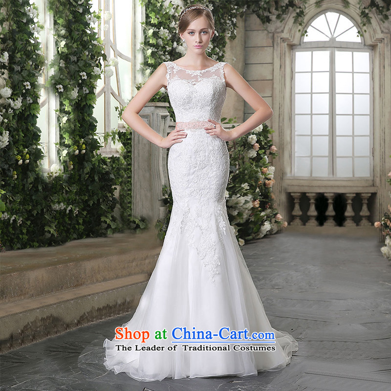 Custom Wedding 2015 dressilyme autumn and winter new boat-shaped for Sau San back crowsfoot lace waistband bride wedding dresses activities ivory - no spot?L