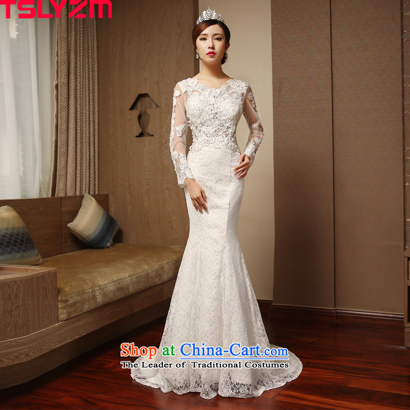 Tslyzm marriages crowsfoot wedding dresses large tail 2015 new autumn and winter video thin long-sleeved buds Sau San silk gown White?XXL
