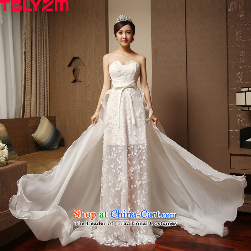 Marriages and chest tslyzm wedding dresses small trailing 2015 new autumn and winter flower lace bow ties before the wedding dress long after the short white?L