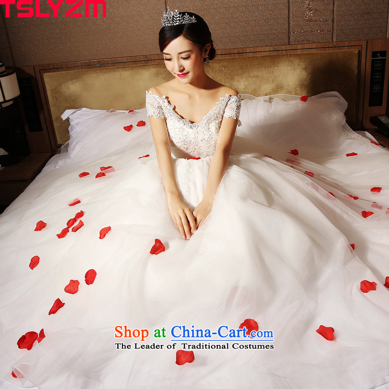 The word tslyzm marriages shoulder wedding dresses to align bon bon skirt 2015 new autumn and winter lace back Foutune of video thin wedding dress white L