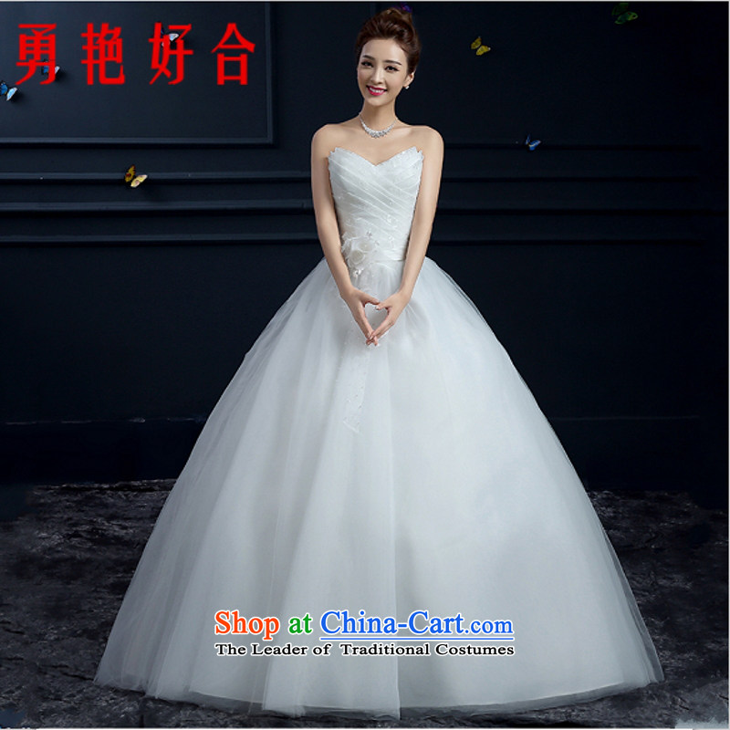 Yong-yeon and wedding dresses 2015 autumn and winter new stylish align to larger marriages lace custom wiping the chest straps wedding White?M