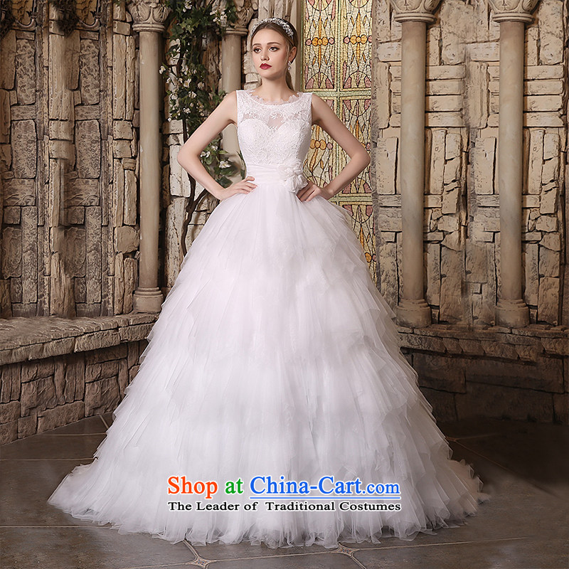 Custom Wedding 2015 dressilyme autumn and winter new boat-shaped collar lace shoulders gauze cascading princess bon bon skirt bride wedding dress White - No spot聽XXL