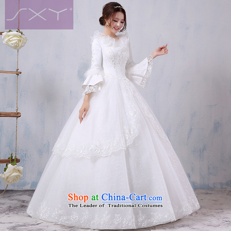 Winter wedding dresses 2015 new bride large graphics thin marriage winter long-sleeved thick warm winter wedding,燲L