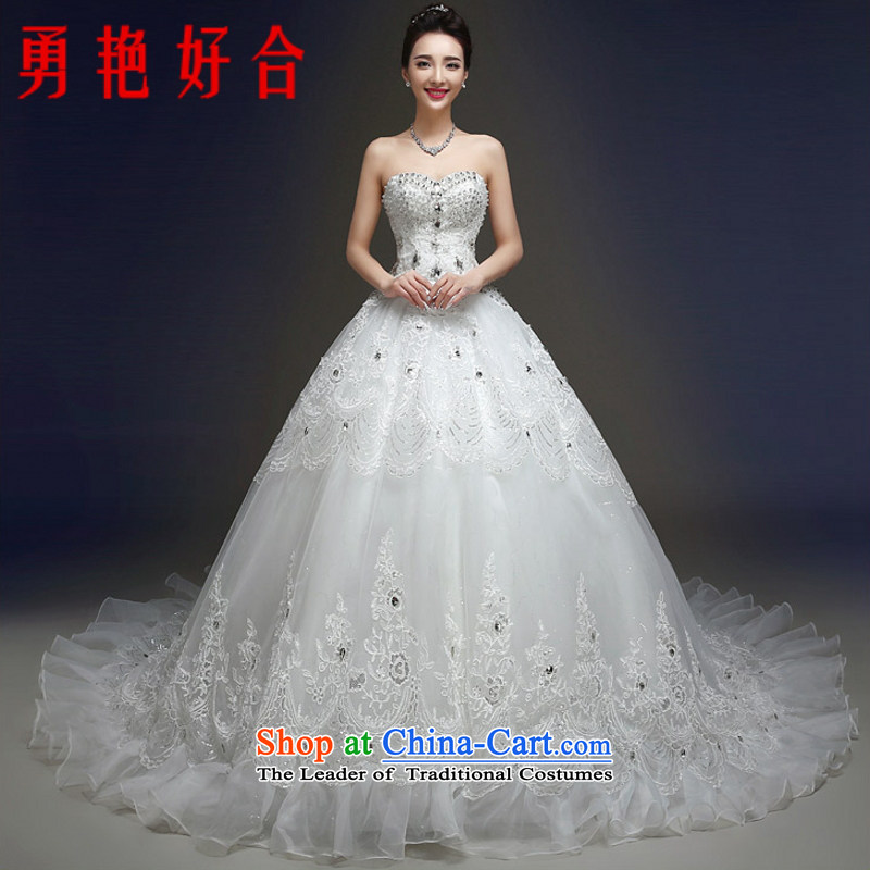 Yong-yeon and?2015 winter new stylish Korean version of large code and chest wedding dresses marriages tail lace Diamond White made no refunds or exchanges Size