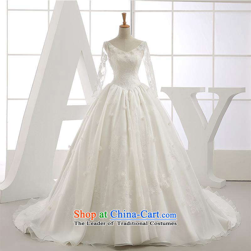 Star wedding dresses 2015 new autumn and winter Korean baby with tail bride wedding V-Neck long-sleeved female white 1.5m tail?XL
