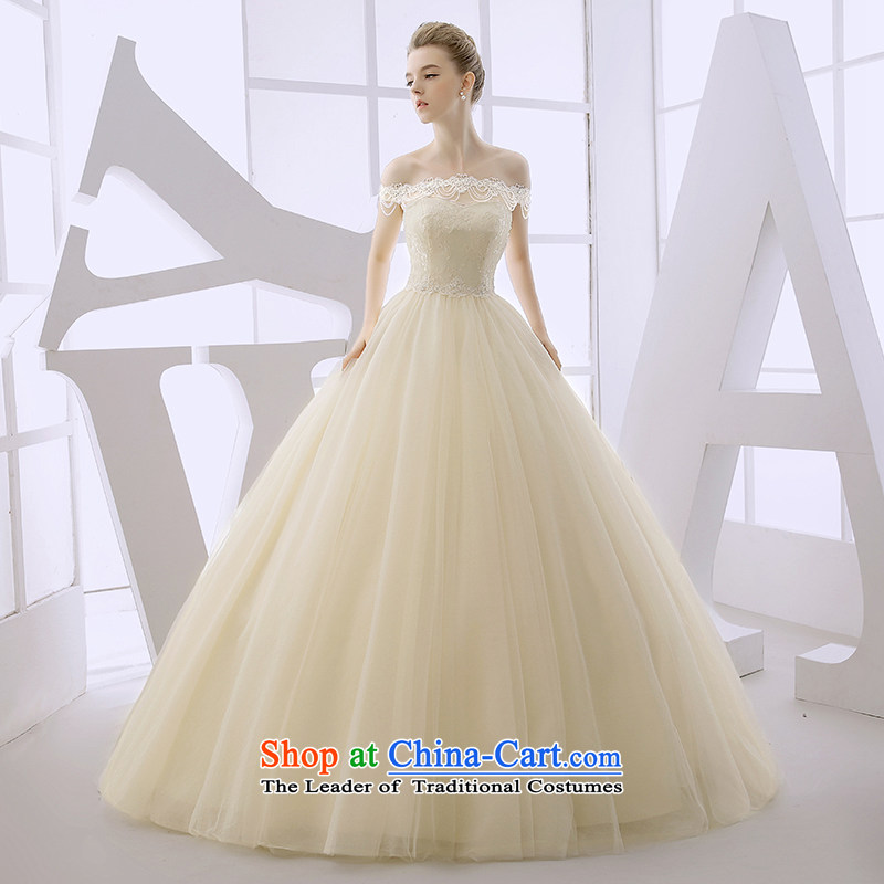 Wedding dress 2015 winter new strap to align the word anointed chest marriages shoulder Sau San video thin champagne color champagne color?S