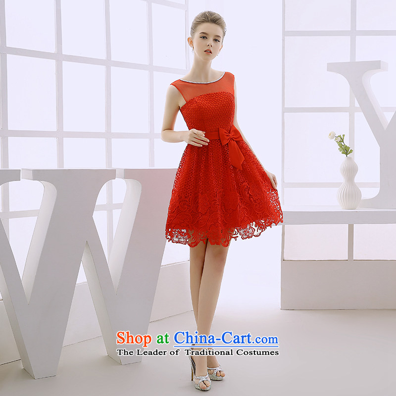 2015 WINTER new wedding dresses bride bows services red lace short skirt dress princess, small red dress L
