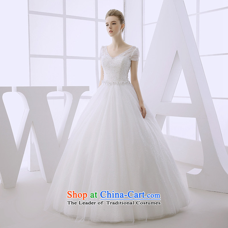 Wedding dress 2015 winter new bride shoulders package to align the Deep v-neck lace pregnant women for larger video thin white?L )