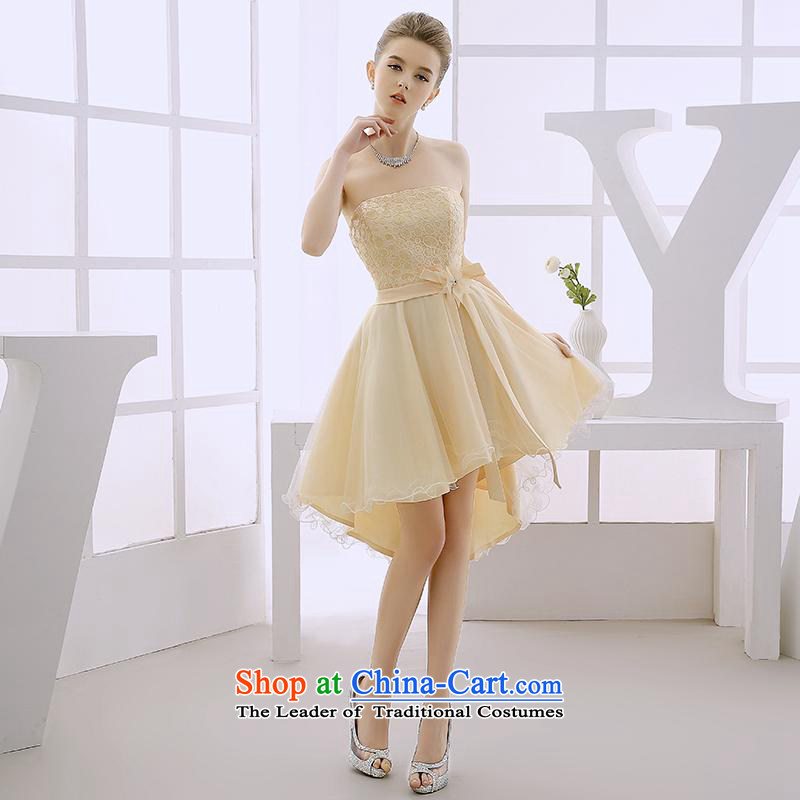 2015 Winter Jackets bride bridesmaid services serving the small chest wiped bows dress skirt banquet dinner gatherings birthday evening dress orange L