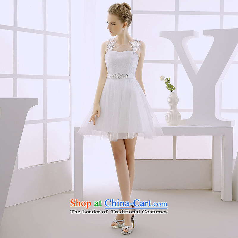 2015 WINTER new evening dresses dresses small red dress short skirt bridesmaid service, princess skirt white?L