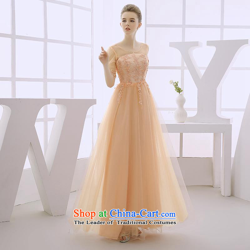 2015 WINTER new wedding dresses long red dress long skirt the Gala Evenings marriages cuff bows services Light Yellow XL