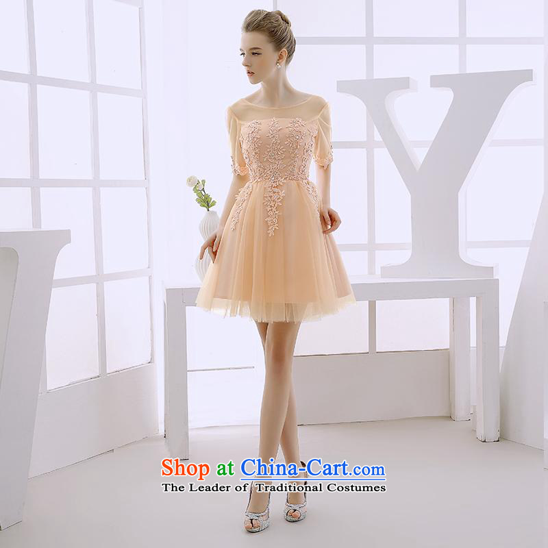 2015 WINTER new small dress short skirt bridesmaid service, sister Princess Korean skirt skirt evening dress Pale Yellow?XL
