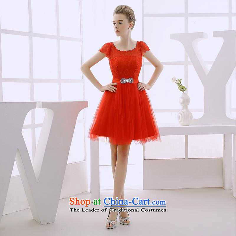 2015 WINTER wedding dresses new bridesmaid Services service, bows dresses betrothal dinner evening dress suit small red?S