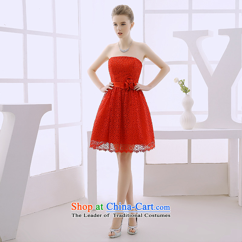 2015 WINTER new evening dresses and chest small dresses red bridesmaid service, princess wedding dresses red L