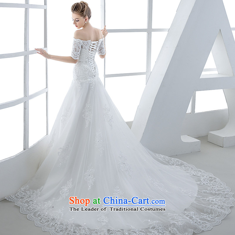Wedding dress 2015 winter new bride Korean won the first field and chest straps shoulder graphics thin crowsfoot large white tail end of 80 cm?L