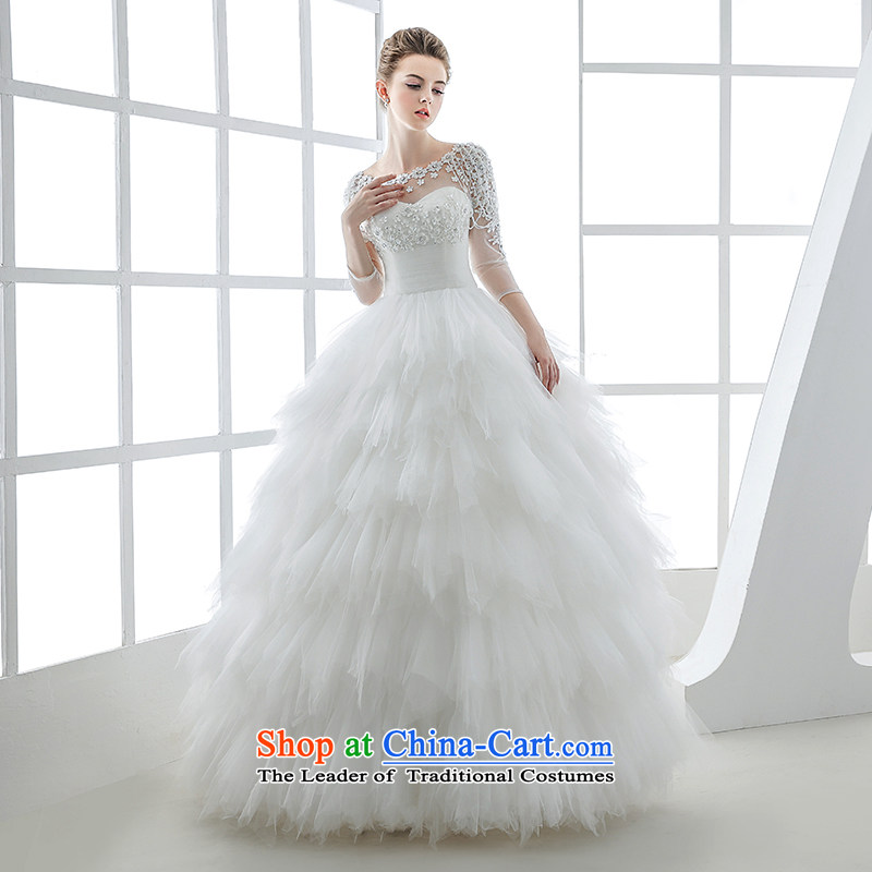 Wedding dress in the new winter 2015 long-sleeved marriages feather lace Zhang ì§ entertainment stars of the same pregnant women White?XL