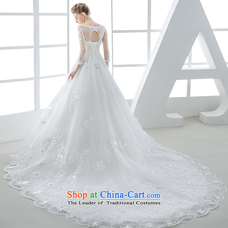 Wedding dress 2015 winter new bride in long-sleeved Korean lace Sau San tie long tail large tail 1 m and Mei White?XL