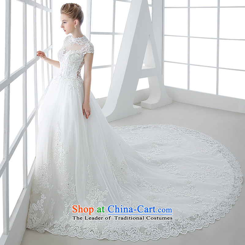 Wedding dress 2015 winter new bride white Korean Won Version Sau San video thin lace long tail large white tail 1.5 m and tail聽M