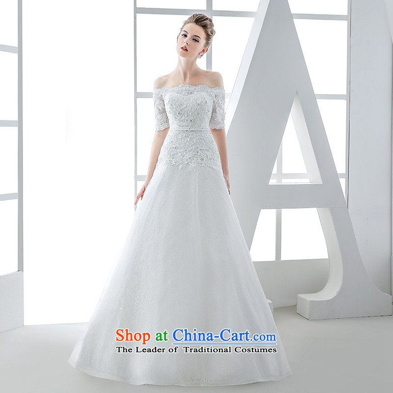 Wedding dress 2015 winter new word for word shoulder and chest straps to Sau San video thin stylish huns white?L