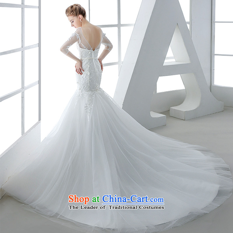 Wedding dress 2015 winter new bride Korean Won-Sau San video thin lace flowers crowsfoot long tail and tail?M white 80cm