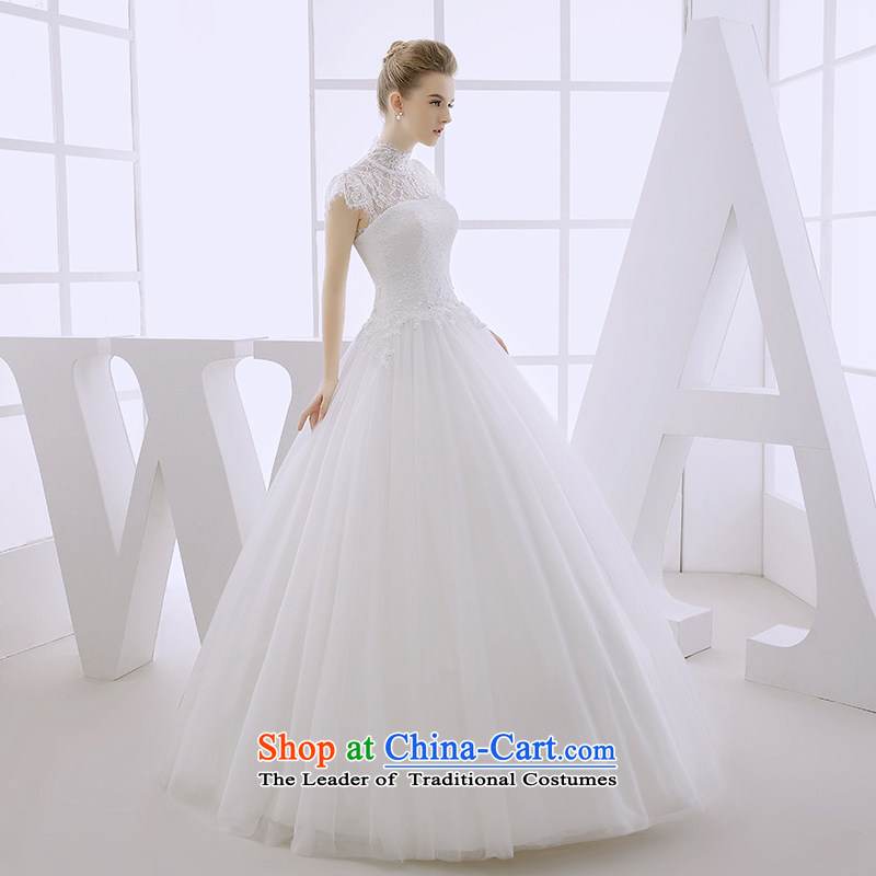 Wedding dress 2015 winter bride high collar collar with lace cuff bon bon skirt to align the strap on the white?L of Pregnant Women