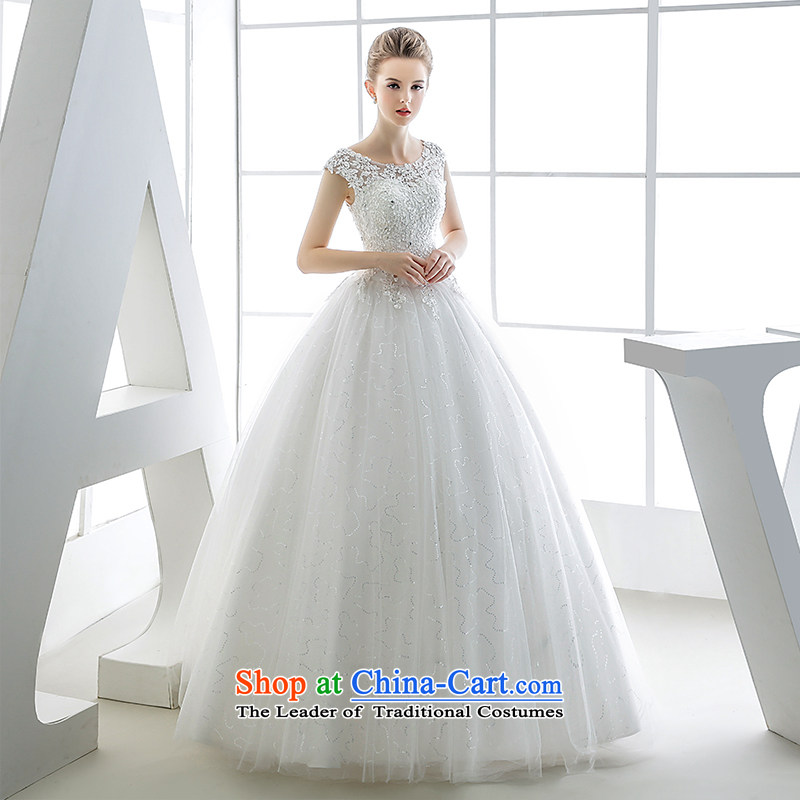Wedding dress 2015 autumn and winter marriages shoulder to shoulder with the package version of the Korean won out white yarn retro white?S