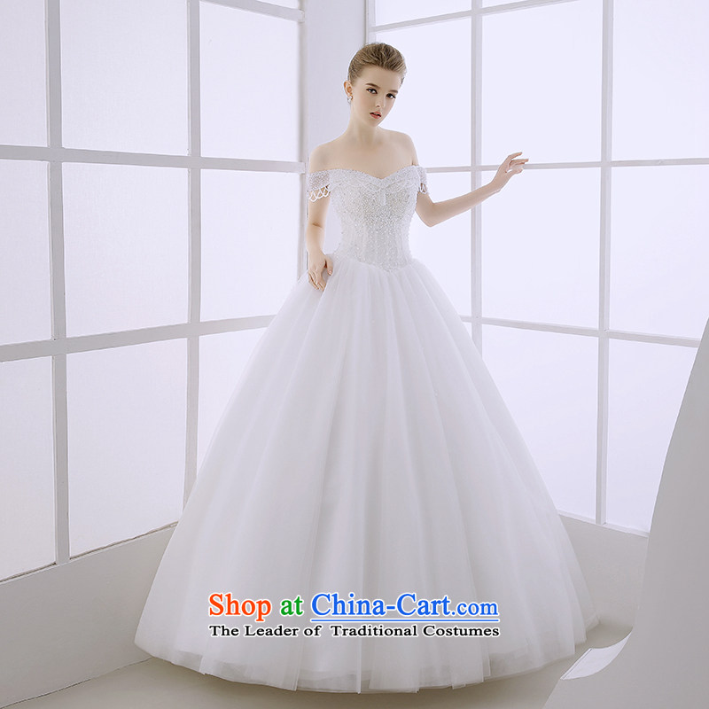 Wedding dress the Word 2015 winter bride shoulder Deep v-neck back video upscale European and American Sau San thin white?L huns Palace