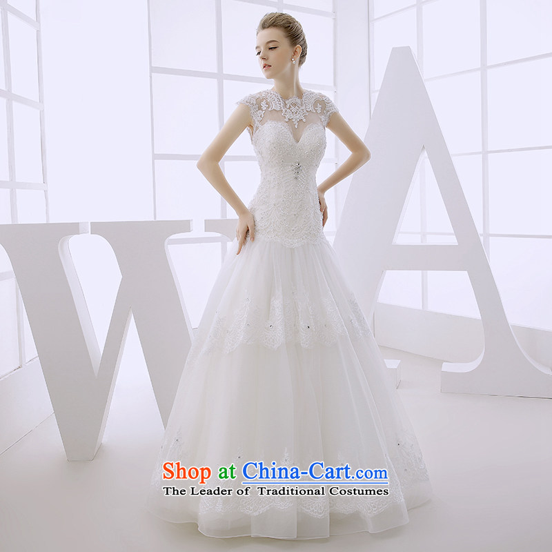 Wedding dress 2015 autumn and winter marriages Ms. shoulders female white simple Suzhou tailor-made out of White?XL