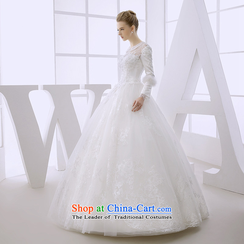 Wedding dress winter 2015 winter bride long-sleeved straps to align the princess bon bon skirt made out of white?S White