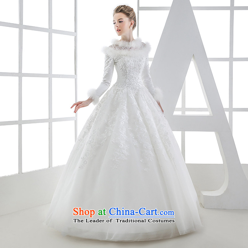 Wedding dress winter 2015 winter bride long-sleeved straps to align the tailor-made video thin princess out of white S