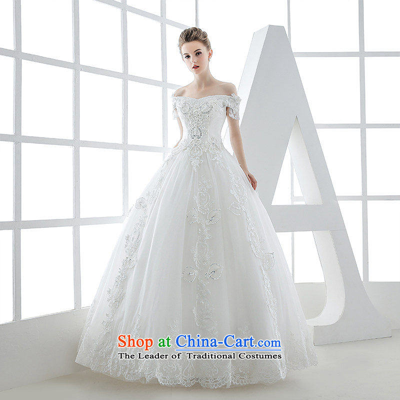 Wedding dress the Word 2015 winter bride shoulder v-neck in the Western Palace of high-end luxury fashion out of Sau San White?XL