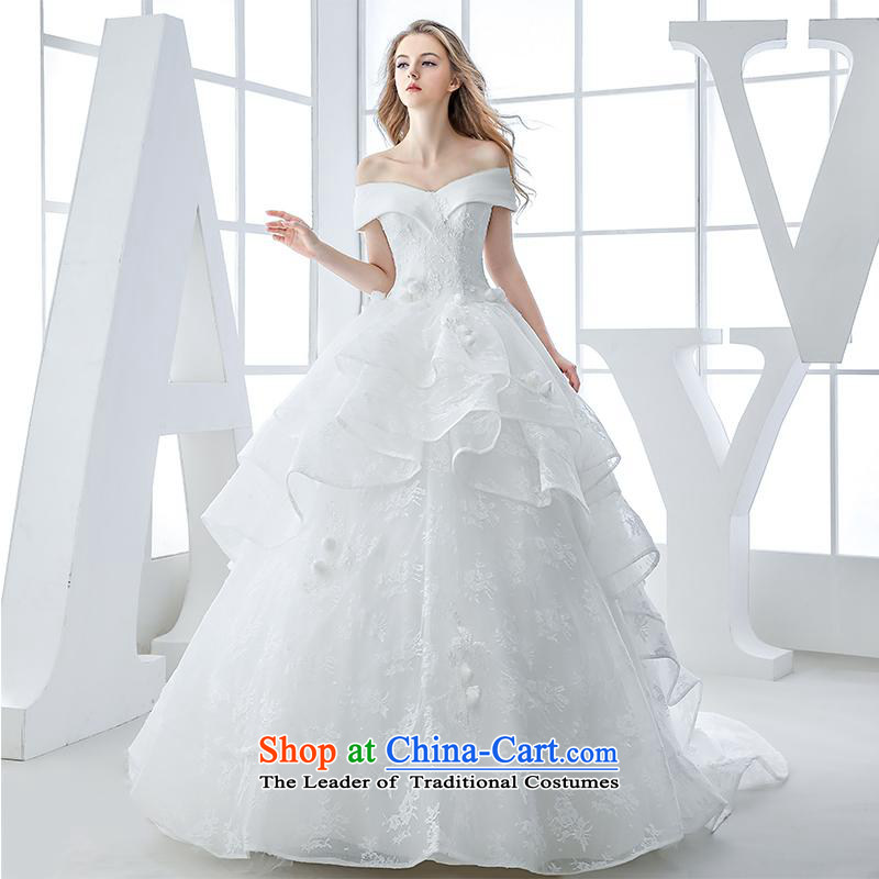 Wedding dress 2015 winter new bride first field shoulder v-neck lace tail bon bon skirt to a high standard and style white 60cm and Mei Princess L
